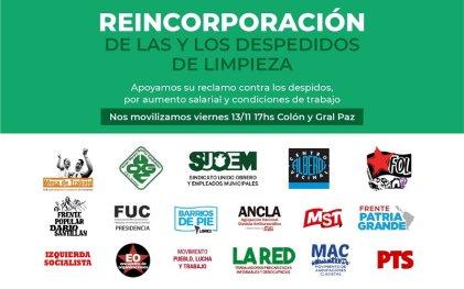 Crece el apoyo a las trabajadoras de limpieza despedidas en Córdoba